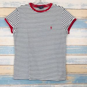 NEW Ralph Lauren • Black & White Striped Crew Neck